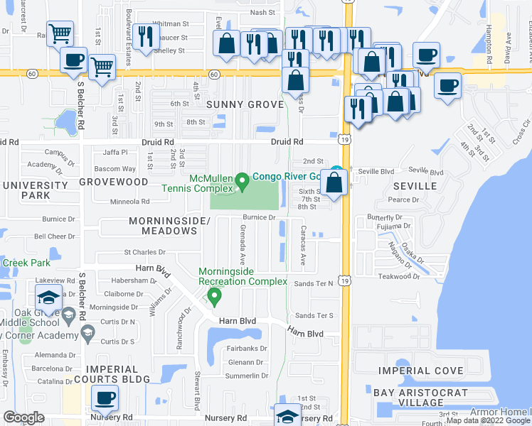map of restaurants, bars, coffee shops, grocery stores, and more near 2482 Burnice Drive in Clearwater