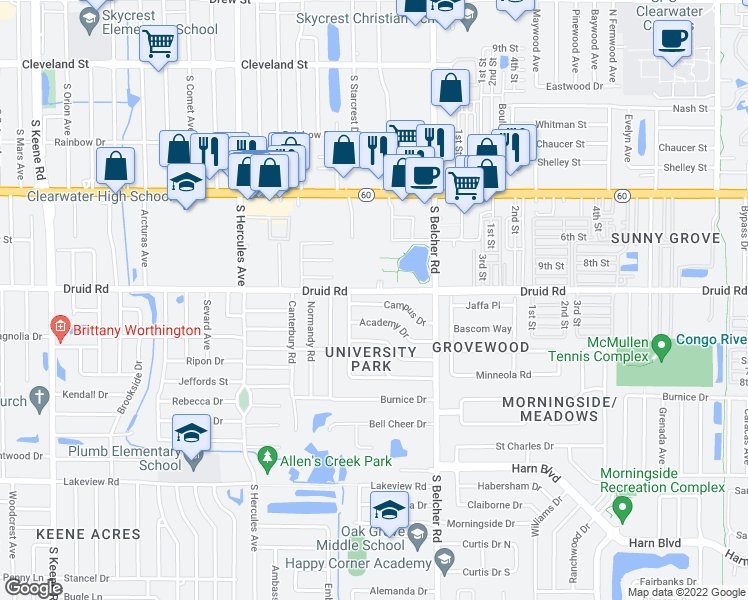 map of restaurants, bars, coffee shops, grocery stores, and more near 2134 Campus Dr in Clearwater
