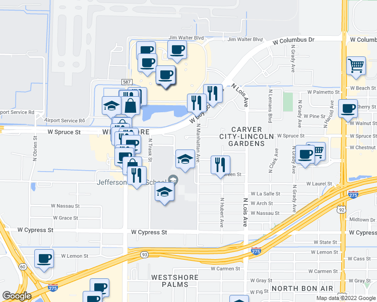 map of restaurants, bars, coffee shops, grocery stores, and more near 4400 West Spruce Street in Tampa