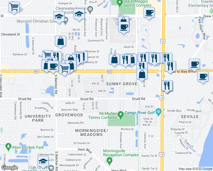 map of restaurants, bars, coffee shops, grocery stores, and more near 6th Street in Clearwater
