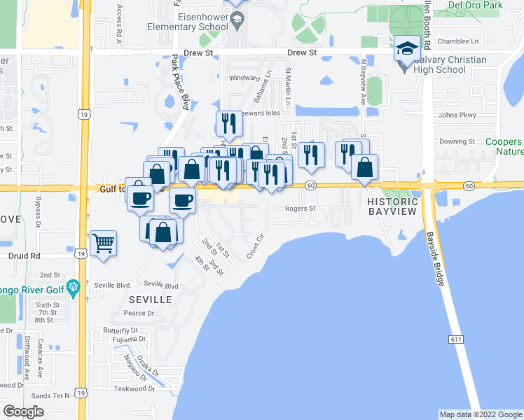 map of restaurants, bars, coffee shops, grocery stores, and more near 2855 Gulf to Bay Boulevard in Clearwater
