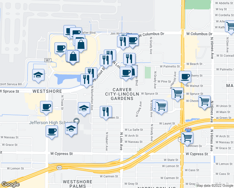 map of restaurants, bars, coffee shops, grocery stores, and more near 4221 West Spruce Street in Tampa
