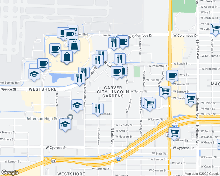 map of restaurants, bars, coffee shops, grocery stores, and more near 2002 North Lois Avenue in Tampa