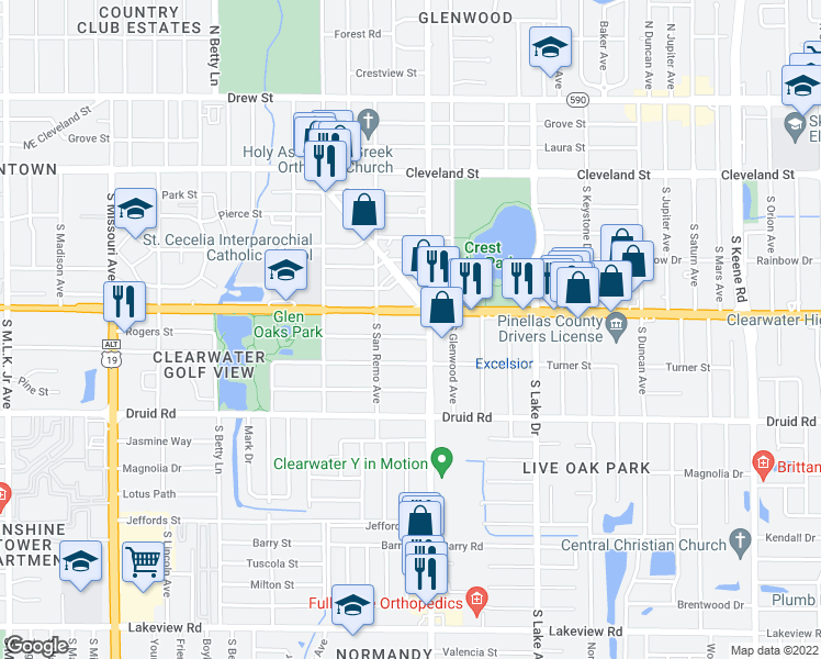 map of restaurants, bars, coffee shops, grocery stores, and more near 1466 Rogers Street in Clearwater