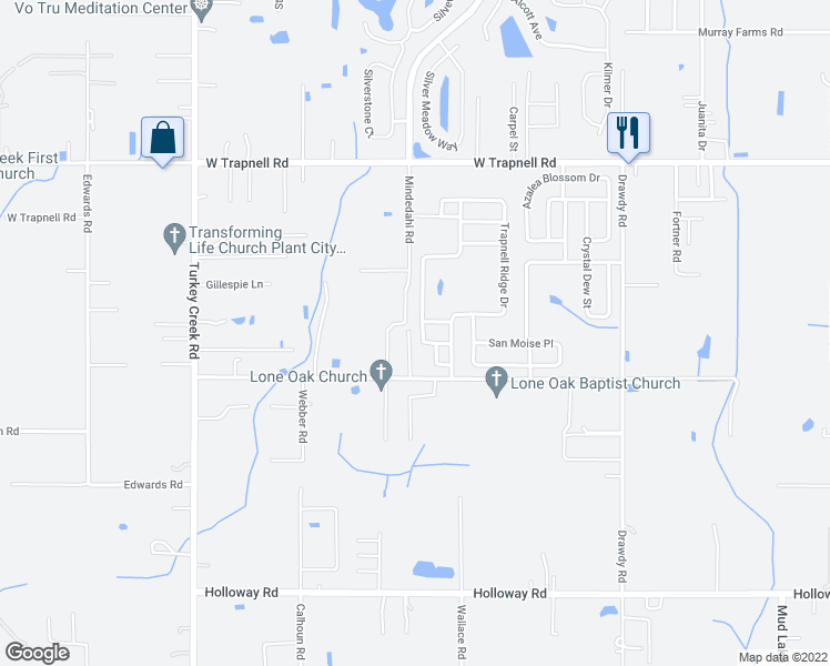 map of restaurants, bars, coffee shops, grocery stores, and more near 3711 Trapnell Grove Loop in Plant City