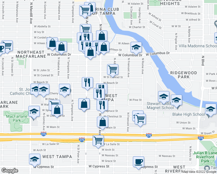 map of restaurants, bars, coffee shops, grocery stores, and more near 2126-2132 West Beach Street in Tampa