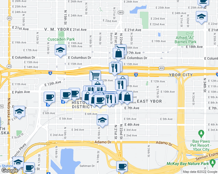 map of restaurants, bars, coffee shops, grocery stores, and more near 2010 East Palm Avenue in Tampa