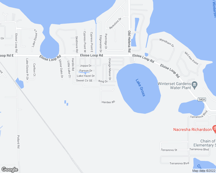map of restaurants, bars, coffee shops, grocery stores, and more near 22 Mallard Drive in Winter Haven