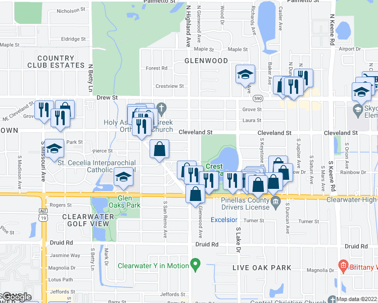 map of restaurants, bars, coffee shops, grocery stores, and more near S Highland Ave & Pierce St in Clearwater