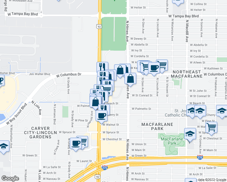 map of restaurants, bars, coffee shops, grocery stores, and more near 2901 North Dale Mabry Highway in Tampa