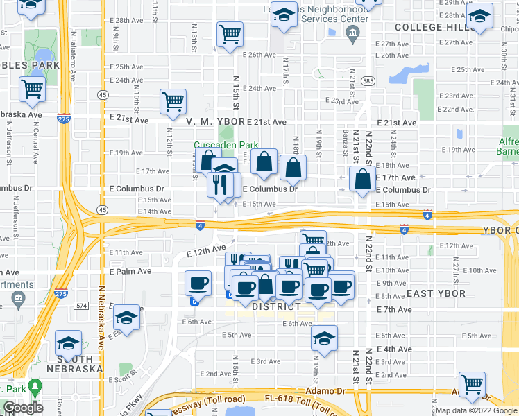 map of restaurants, bars, coffee shops, grocery stores, and more near 1601 East 15th Avenue in Tampa