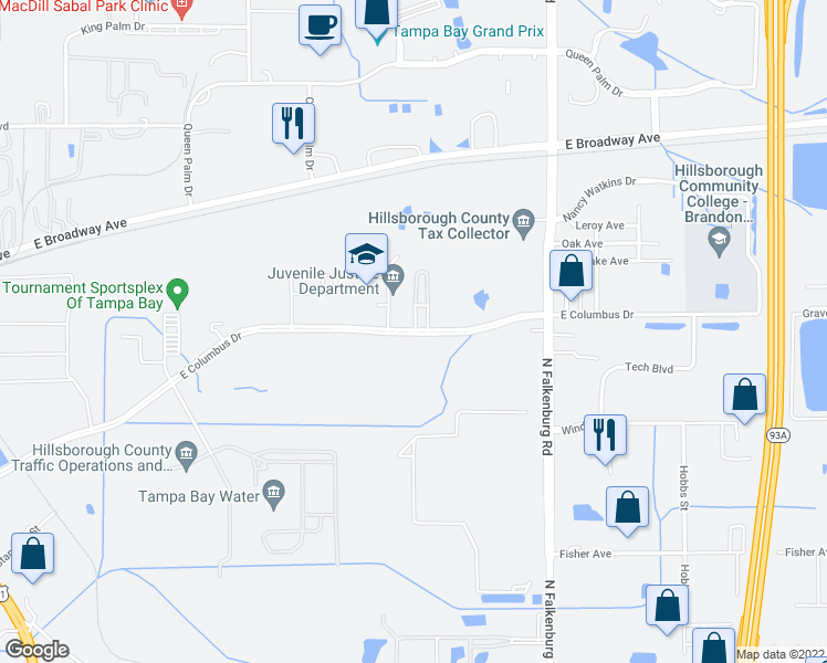 map of restaurants, bars, coffee shops, grocery stores, and more near 9547 East Columbus Drive in Tampa