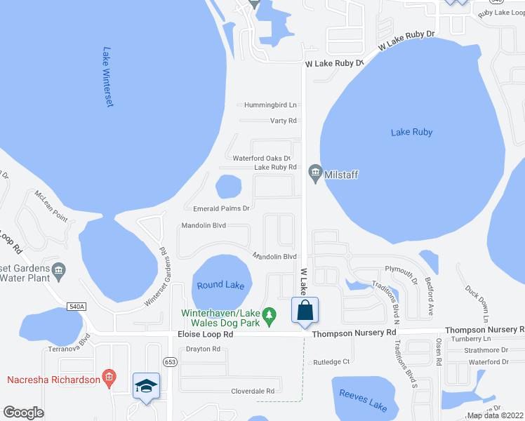 map of restaurants, bars, coffee shops, grocery stores, and more near Emerald Palms Drive in Winter Haven