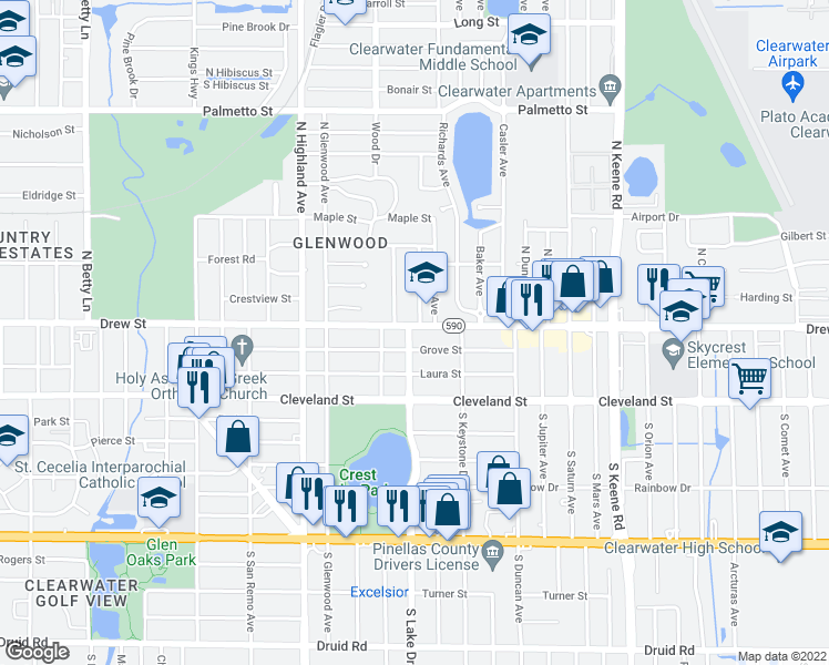 map of restaurants, bars, coffee shops, grocery stores, and more near 141 North Lake Drive in Clearwater