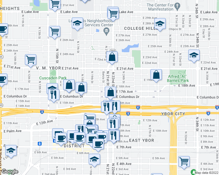 map of restaurants, bars, coffee shops, grocery stores, and more near 2811 North 21st Street in Tampa