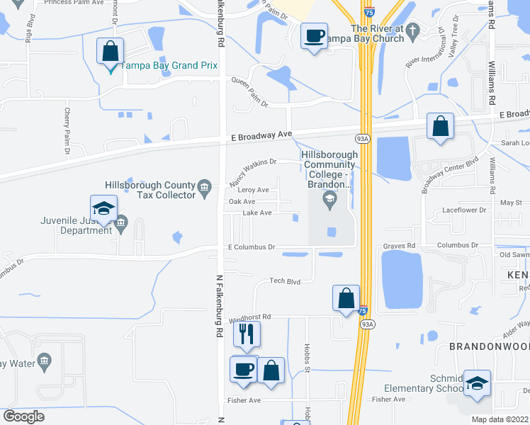 map of restaurants, bars, coffee shops, grocery stores, and more near Lake Avenue in Tampa