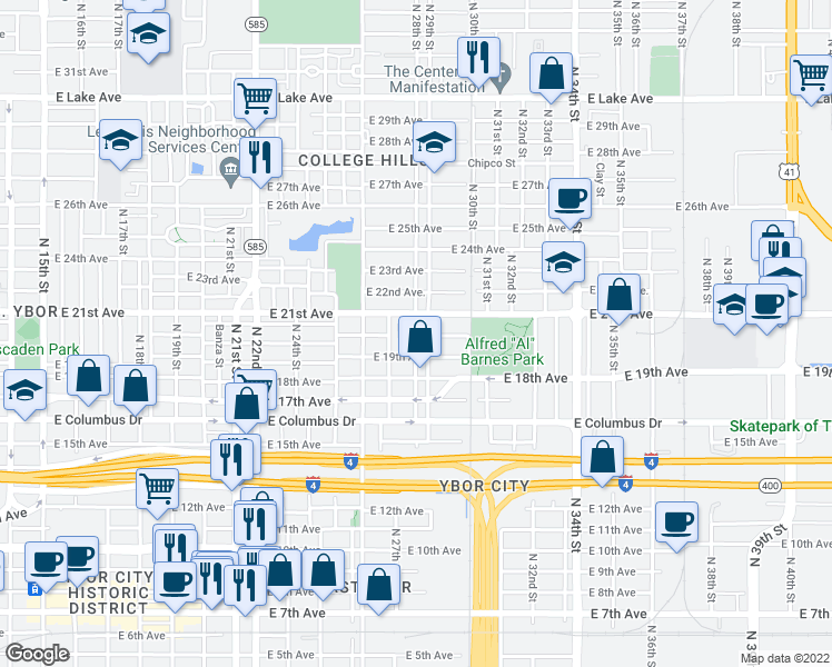 map of restaurants, bars, coffee shops, grocery stores, and more near 2900-2910 East 21st Avenue in Tampa