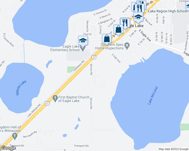 map of restaurants, bars, coffee shops, grocery stores, and more near Country Walk Cove in Eagle Lake