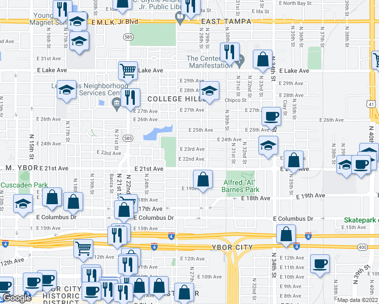 map of restaurants, bars, coffee shops, grocery stores, and more near 2614 East 23rd Avenue in Tampa