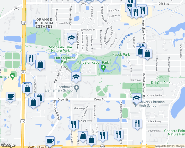 map of restaurants, bars, coffee shops, grocery stores, and more near 1602 Brigadoon Drive in Clearwater