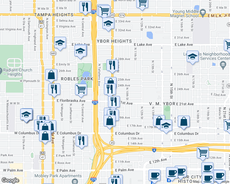map of restaurants, bars, coffee shops, grocery stores, and more near 906 East 23rd Avenue in Tampa