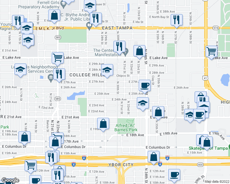 map of restaurants, bars, coffee shops, grocery stores, and more near 3100-3198 North 30th Street in Tampa