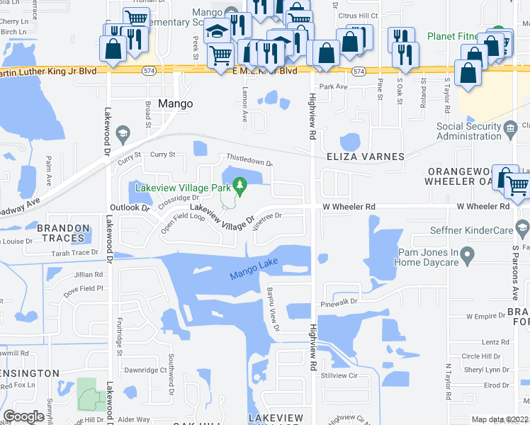 map of restaurants, bars, coffee shops, grocery stores, and more near 1128 Vinetree Drive in Brandon