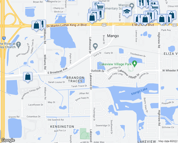 map of restaurants, bars, coffee shops, grocery stores, and more near 1704 Brandon Trace Avenue in Brandon