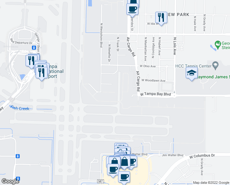 map of restaurants, bars, coffee shops, grocery stores, and more near Tampa Bay Boulevard in Tampa
