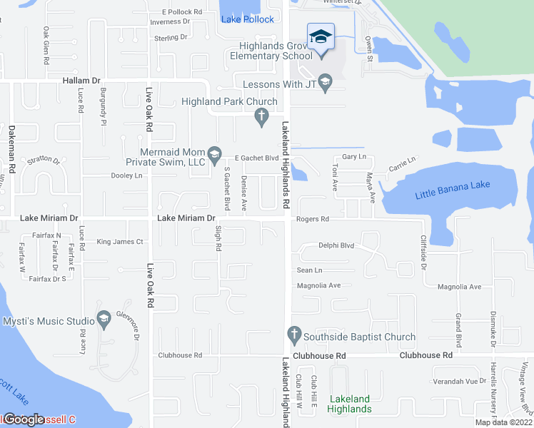 map of restaurants, bars, coffee shops, grocery stores, and more near 4931 Celia Circle West in Lakeland