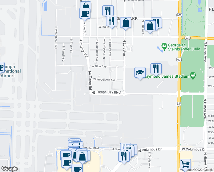 map of restaurants, bars, coffee shops, grocery stores, and more near 4301 West Tampa Bay Boulevard in Tampa