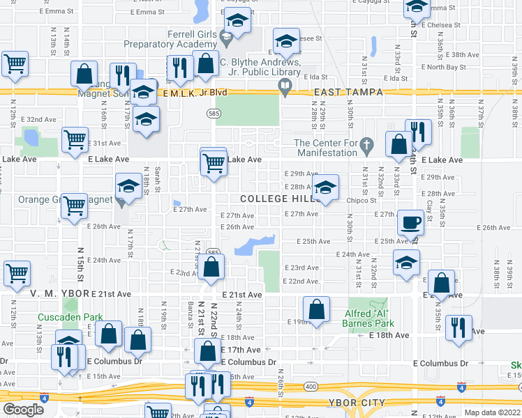map of restaurants, bars, coffee shops, grocery stores, and more near 3411 North 24th Street in Tampa