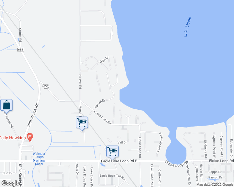 map of restaurants, bars, coffee shops, grocery stores, and more near 3801-3899 Gaines Court in Winter Haven