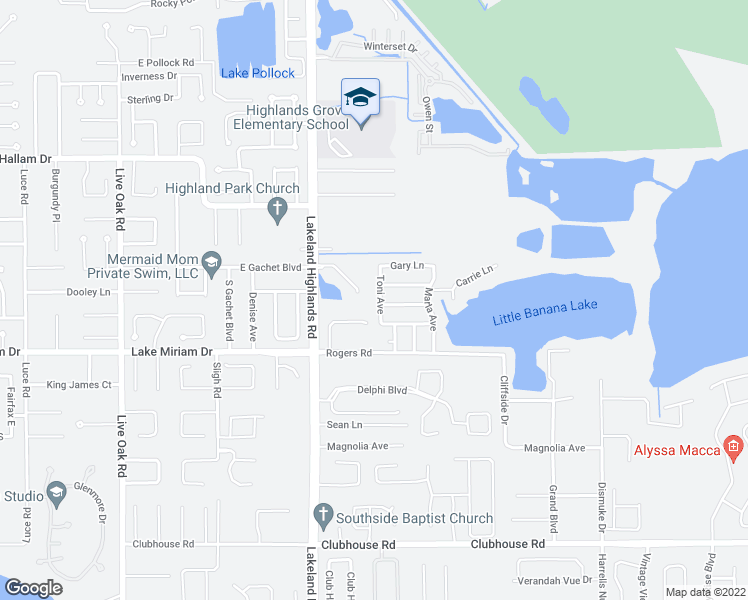 map of restaurants, bars, coffee shops, grocery stores, and more near 4835 Toni Avenue in Lakeland