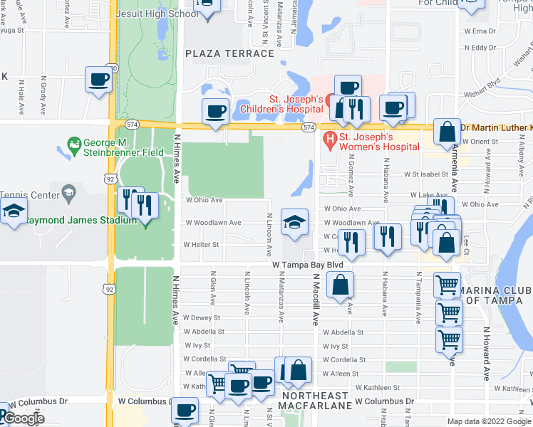 map of restaurants, bars, coffee shops, grocery stores, and more near 4108 North Lincoln Avenue in Tampa