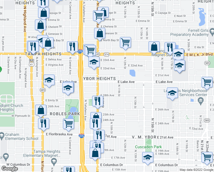 map of restaurants, bars, coffee shops, grocery stores, and more near 906 East Lake Avenue in Tampa