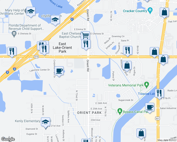 map of restaurants, bars, coffee shops, grocery stores, and more near 3755 Fairview Cove Lane in Tampa