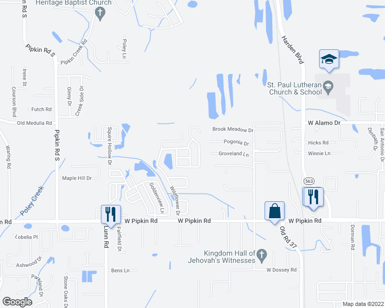 map of restaurants, bars, coffee shops, grocery stores, and more near 1415 Marigold Drive in Lakeland