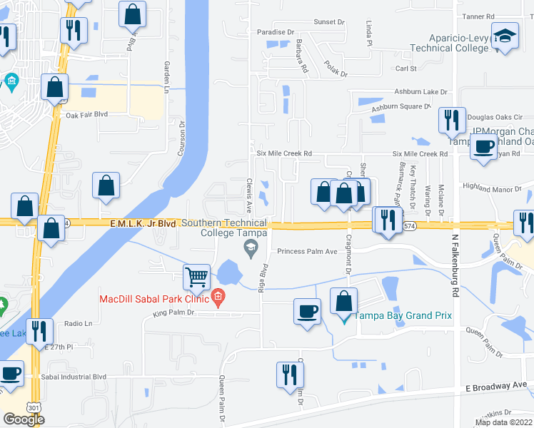 map of restaurants, bars, coffee shops, grocery stores, and more near 4006 Sabal Park Drive in Tampa