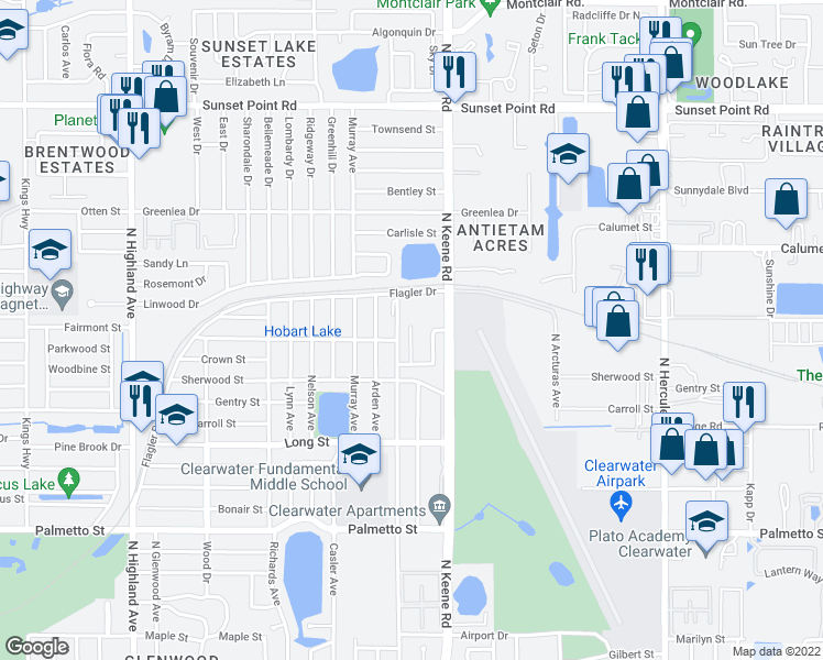 map of restaurants, bars, coffee shops, grocery stores, and more near 1507 Aries Lane in Clearwater