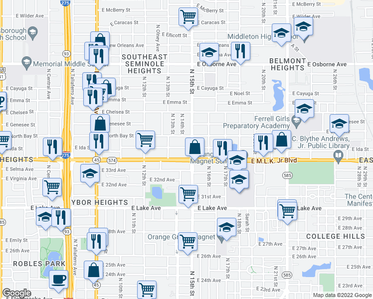 map of restaurants, bars, coffee shops, grocery stores, and more near 1409 East Ida Street in Tampa