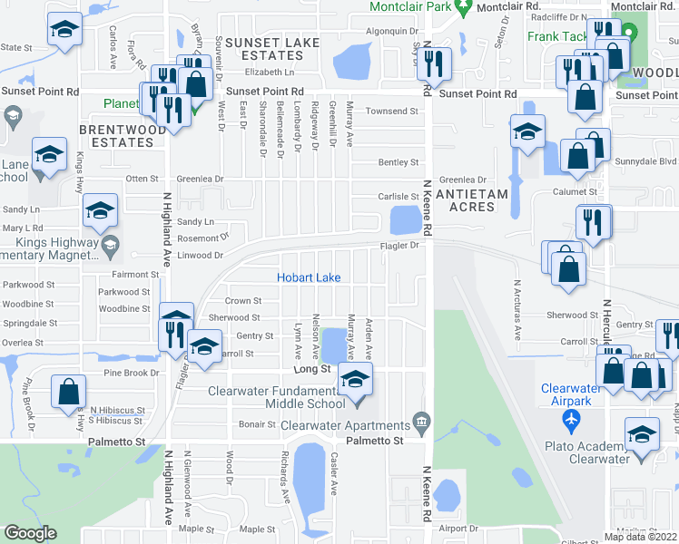 map of restaurants, bars, coffee shops, grocery stores, and more near 1506 Murray Avenue in Clearwater