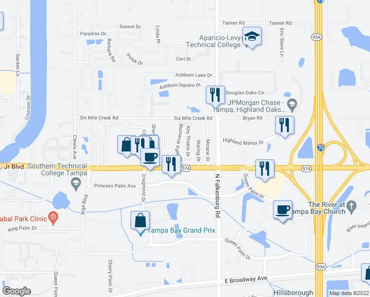 map of restaurants, bars, coffee shops, grocery stores, and more near 4132 Key Thatch Drive in Tampa