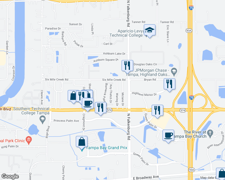 map of restaurants, bars, coffee shops, grocery stores, and more near 4213 Key Thatch Drive in Tampa