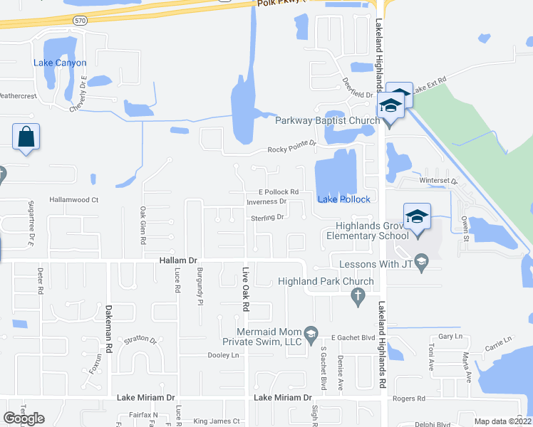 map of restaurants, bars, coffee shops, grocery stores, and more near 1704 Sterling Drive in Lakeland