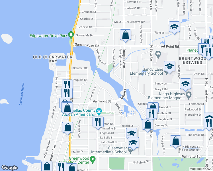map of restaurants, bars, coffee shops, grocery stores, and more near 1781 Harbor Drive in Clearwater