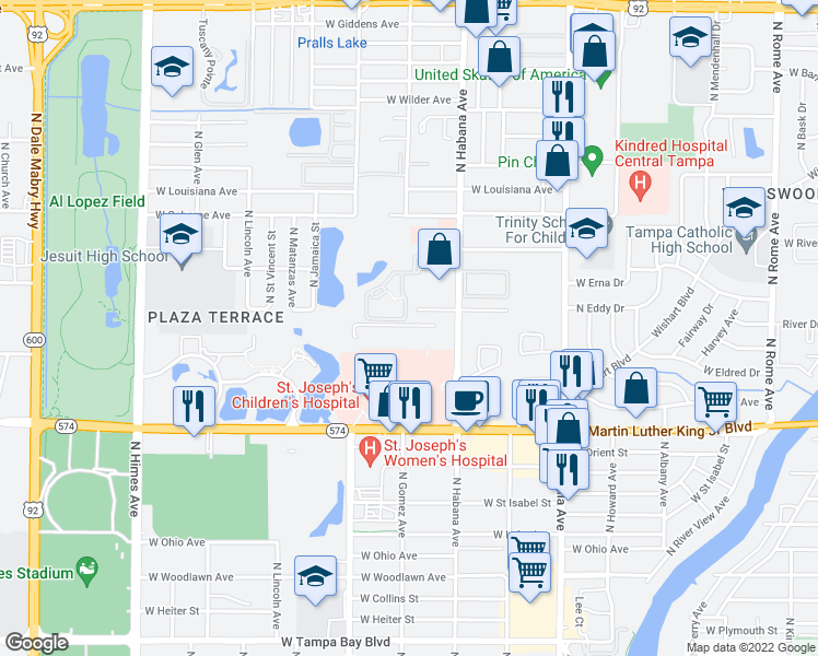 map of restaurants, bars, coffee shops, grocery stores, and more near 4714 North Habana Avenue in Tampa