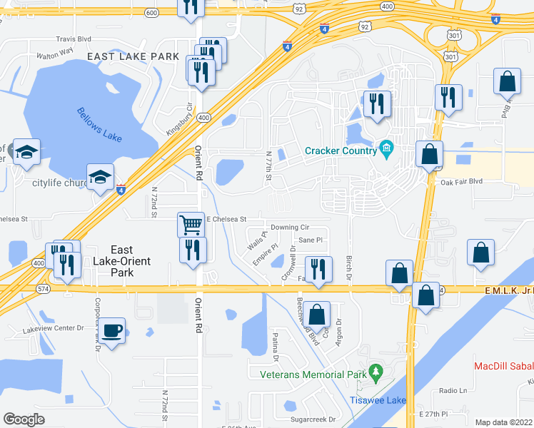 map of restaurants, bars, coffee shops, grocery stores, and more near 4412 North 77th Street in Tampa