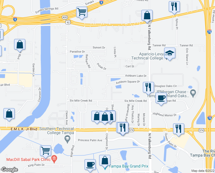 map of restaurants, bars, coffee shops, grocery stores, and more near 4447 Ashburn Square Drive in Tampa