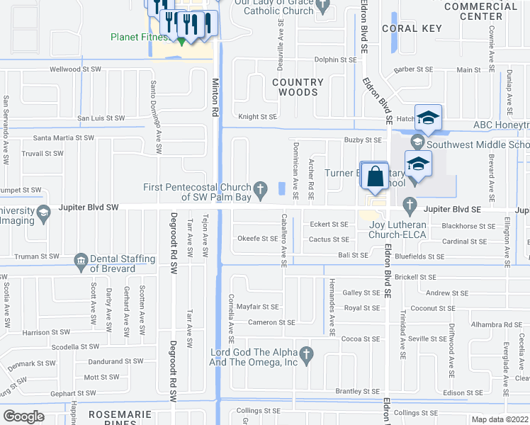 map of restaurants, bars, coffee shops, grocery stores, and more near 2898 Jupiter Boulevard Southeast in Palm Bay